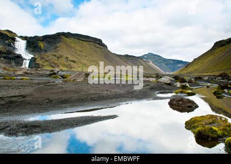 Ófaerufossar, Ófærufossar waterfall in Eldgjá canyon, highlands, Iceland - Stock Image