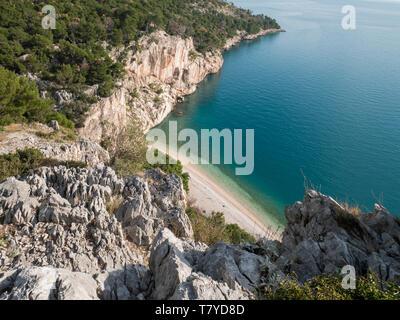 Paradise beach Nugal on Makarska riviera in Croatia landscape - Stock Image