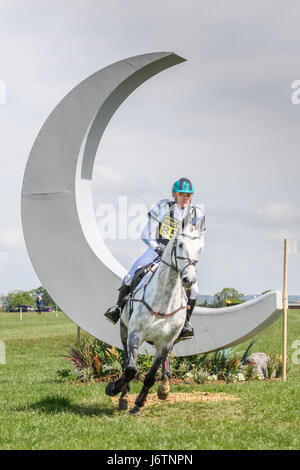 Rockingham Castle, Corby, UK. 21st May, 2017. The Australian rider Andrew Hoy and his horse Basmati clear the crescent - Stock Image