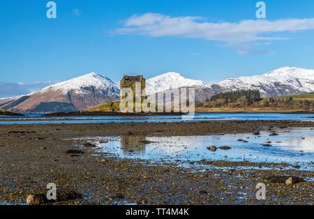 Castle Stalker on Loch Laich off Loch Linnhe, North West Scotland - Stock Image