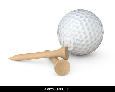 Classic white Golf Ball and 2 wooden tees pegs on white background. 3d Render. - Stock Image