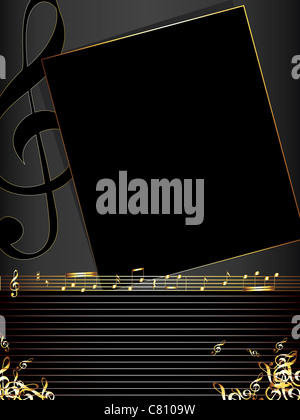 music vector illustration background with golden notes - Stock Image