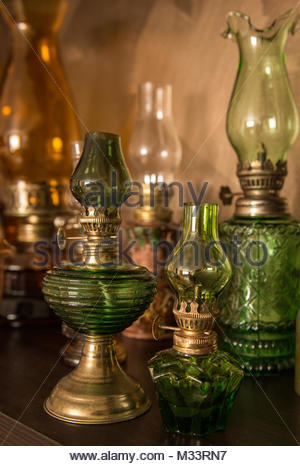 Collection of old-styled kerosene lamps - Stock Image