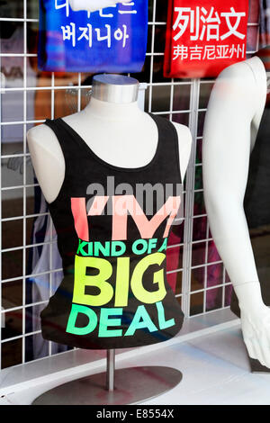 Storefront window display with tank top saying 'I'm kind of a big deal' illustrating the concept 'It's - Stock Image