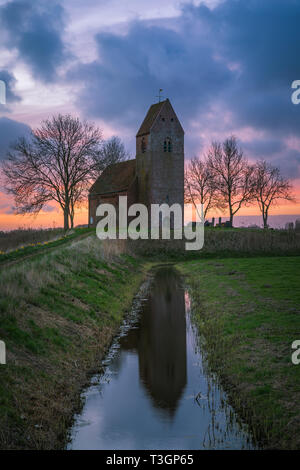 The Mauritius Church in Marsum (municipality of Appingedam), owned by the Stichting Oude Groninger Kerken, is one of the most beautiful medieval churc - Stock Image