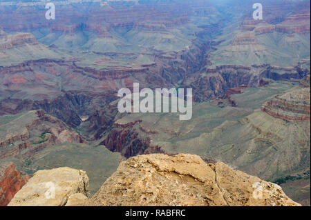 Looking down  into Grand Canyon from the South Rim. - Stock Image