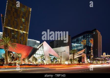 Streaking lights and City Center, Las Vegas, Nevada USA - Stock Image