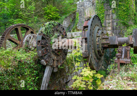 Old machinery and 19th century industrial remains in the Luxulyan Valley in Cornwall, England, UK - Stock Image