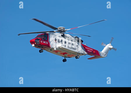 Sikorsky S92A Bristow helicopter G-MCGI operating for the UK Coastguard based at Inverness Airport - Stock Image