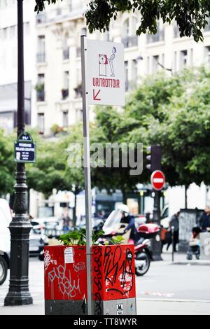 Public urinal in Paris street - France - Stock Image