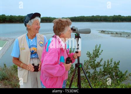 Florida Gulf Coast Lee County Sanibel JN Ding Darling National Wildlife Refuge senior volunteer visitor - Stock Image