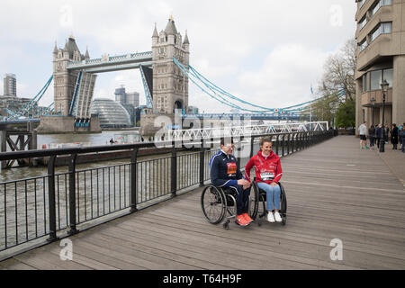 London,UK,29th April 2019,The London Marathon Winners photocall took place outside the Tower Hotel. Wheelchair athletes Daniel Romanchuk(USA)Manuela Schar(SUI) posed for photographers.Credit: Keith Larby/Alamy Live News - Stock Image