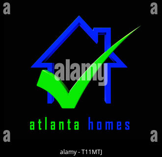 Atlanta Property Icon Shows Real Estate Residential Buying. Home Ownership In The United States 3d Illustration - Stock Image