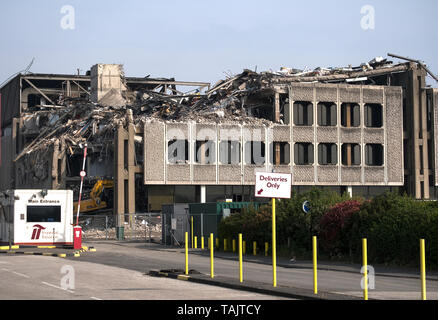 Factory structure exposed during demolition - Stock Image