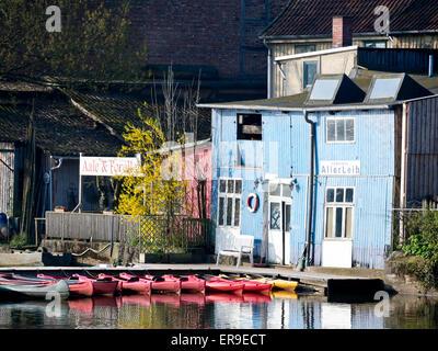 Boat rental, river Aller, Celle, Lower Saxony, Germany - Stock Image
