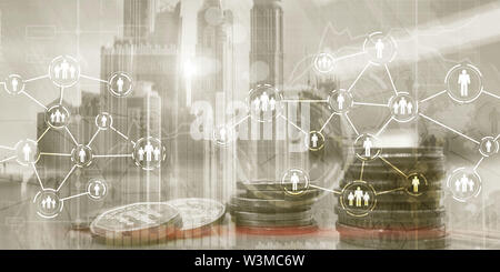 Icon of people with network connections. Social media concept. coins on city background - Stock Image