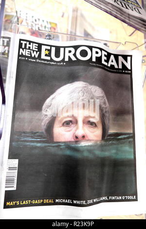 The New European newspaper headline 'May's Last-Gasp Deal'  on Brexit deal in London UK 16 November 2018 - Stock Image