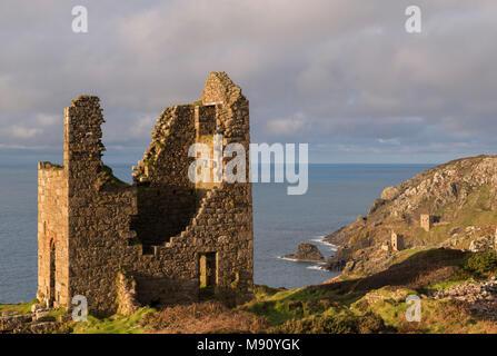 Abandoned tin mines on the Cornish cliffs near Botallack, Cornwall, England. Autumn (November) 2017. - Stock Image