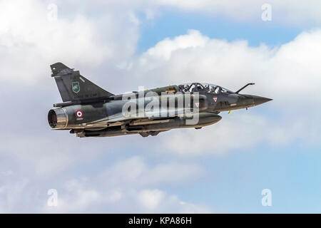 """France Air Force MIRAGE 2000D in flight. Photographed at the  """"Blue-Flag"""" 2017, an international aerial training - Stock Image"""