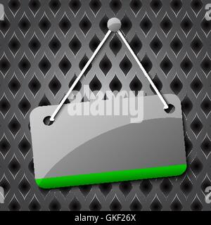 Blank hanging sign for your text on an abstract background. - Stock Image