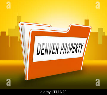 Denver Real Estate Folder Illustrates Colorado Property And Investment Housing. Realty Purchasing And Selling - 3d Illustration - Stock Image