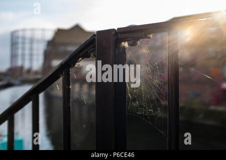 Cobwebbed Rusty Handrail during sunrise with sun beaming through by the canal with buildings in the background including a Gas Tower. Hackney, London,. - Stock Image