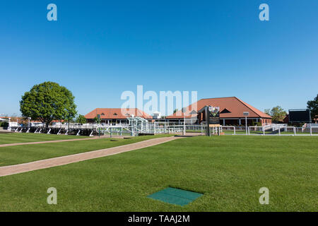 Parade ring Rowley Mile racecourse Newmarket 2019 - Stock Image