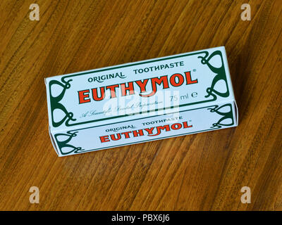 Euthymol Original Toothpaste. A scientific Dental Preparation. Cardboard box container. - Stock Image