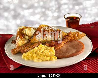 Bacon Eggs Sausage French Toast - Stock Image