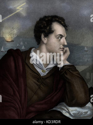 George Gordon Byron, 6th Baron Byron. Portrait of the British poet known as Lord Byron. 22 January 1788 – 19 April - Stock Image