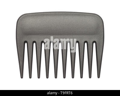 Small Black Pick Comb Isolated on White Background. - Stock Image