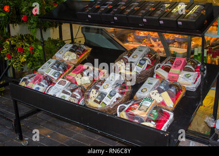 14 December 2018 An on street food display stand outside a grocery store on Main Street in Newcastle county Down at Christmas time - Stock Image