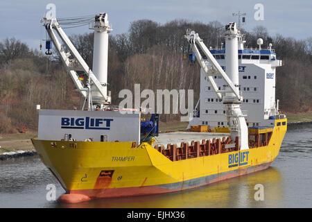Heavy Lift vessel Tramper westbound in Kiel-Canal - Stock Image