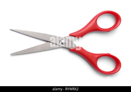 Pair of Red Scissors Open Isolated on White. - Stock Image