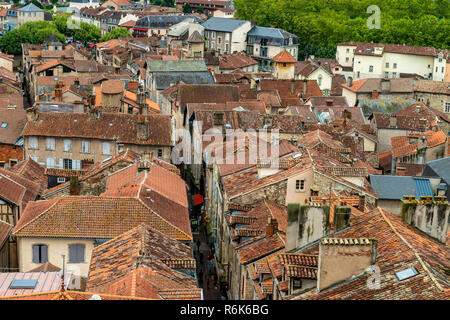 Mediveval Village in France, Villefranch de Rouergue, Classifed as Monument Historic, First twon in France to rise against the English in the 15 Cenur - Stock Image