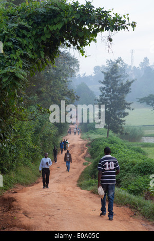 Rwandans walk through Kacyiru area in the morning, Kigali, Rwanda - Stock Image