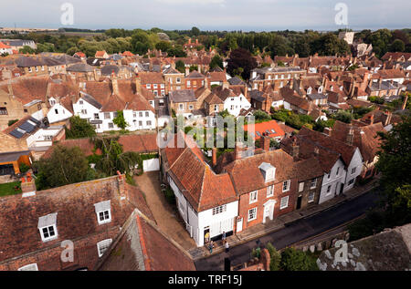Wide-Angle,  aerial view looking down on the historic Town of Sandwich, Kent, UK  Taken from the top of the tower of St Peters Church - Stock Image