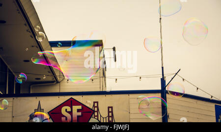 Floating Balloon Bubbles - Stock Image