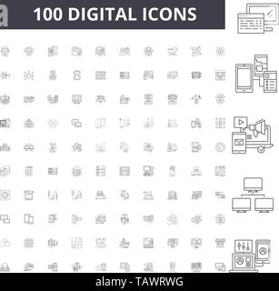 Digital line icons, signs, vector set, outline illustration concept  - Stock Image