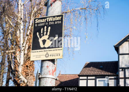 Smart Water or SmartWater sign, Nottinghamshire, England, UK - Stock Image