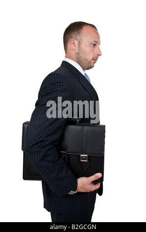 businessman holding bag on isolated background - Stock Image