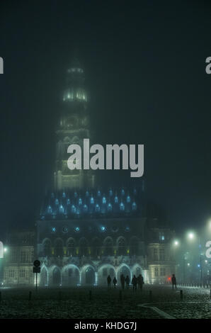 The Arras Belfry and Town Hall illuminated at night, Arras, France - Stock Image