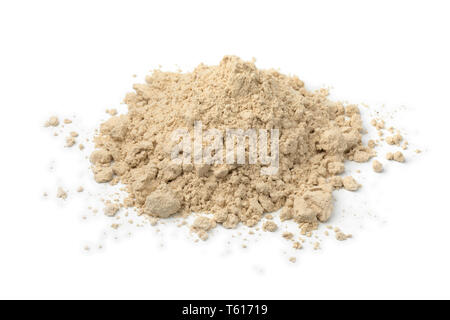 Heap og ground dried kencur powder isolated on white background - Stock Image