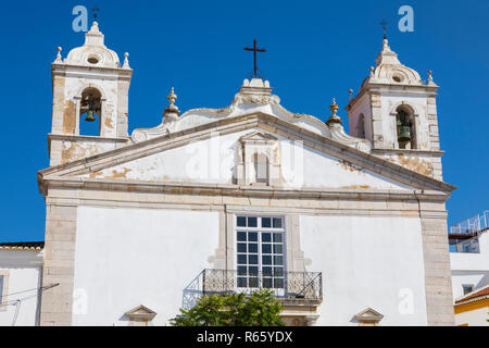 The exterior of Igreja de Santa Maria, or Church of Santa Maria, in the historic old town of Lagos in Portugal. - Stock Image