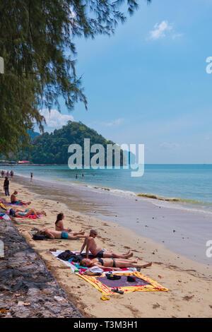 Beach, Hat Noppharat Thara, Krabi province, Thailand - Stock Image