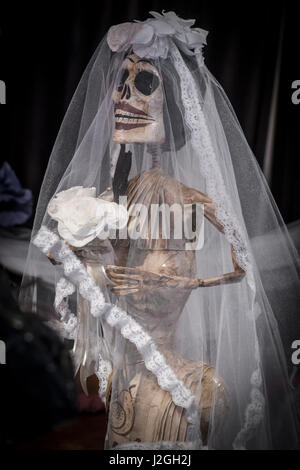 USA, Arizona, Phoenix, Desert Botanical Garden. Skeleton bride at celebration. Credit as: Wendy Kaveney / Jaynes - Stock Image