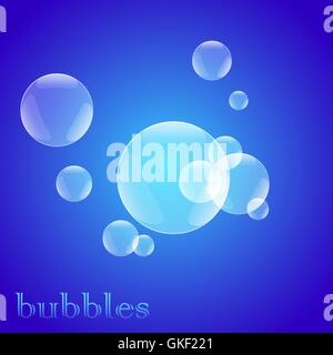bright blue soap bubbles - Stock Image
