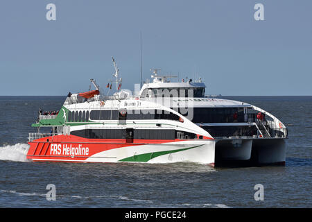 Highspeed-Ferry Halunder Jet returning to Cuxhaven from Helgoland - Stock Image