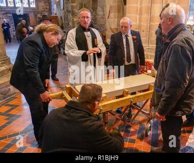 Wirksworth Derbyshire, UK. 11th Nov, 2018. , WW1 remembered a hundred years on, headstone made & engraved in Middleton by Wirksworth from Hopton Wood stone by Colin Julian of L Petts stonemasons being carried by horse drawn carriage to St. Mary's Church in Wirksworth. Credit: Doug Blane/Alamy Live News - Stock Image