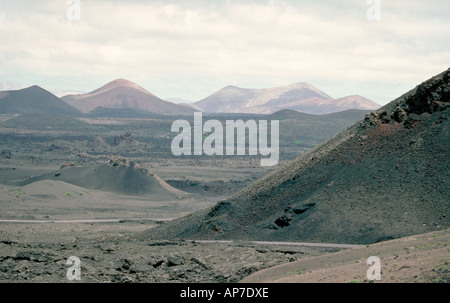 Landscape from Fire Mountain, Lanzarote, Canary Islands - Stock Image